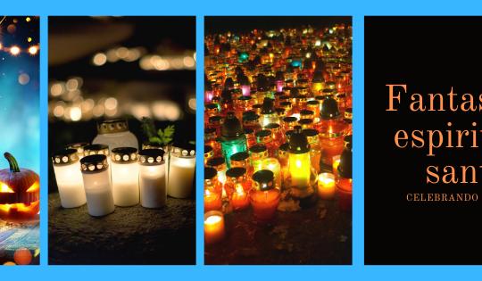 Calabazas y velas, Halloween y Santos